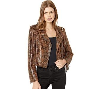 Blank NYC Faux Leather Snakeskin Fringe Jacket